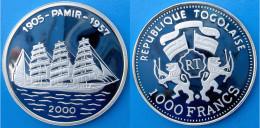 TOGO 1000 F 2000 ARGENTO PROOF  VELIERO NAVE SHIP PAMIR 1905-57 PESO 20,15g TITOLO 0,999 CONSERVAZIONE FONDO SPECCHIO UN - Togo