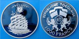 TOGO 1000 F 2001 ARGENTO PROOF  VELIERO NAVE SHIP PREUSSEN RARE PESO 20,15g TITOLO 0,999 CONSERVAZIONE FONDO SPECCHIO UN - Togo