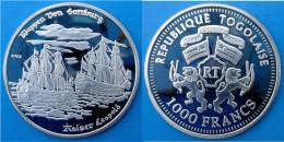 TOGO 1000 F 2002 ARGENTO PROOF  VELIERO NAVE SHIP WAPPEN VON SAMBURG EMPEROR LEOPOLD PESO 20,15g TITOLO 0,999 CONSERVAZI - Togo