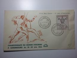 20 Scherma FDC 1954 2F Isolato Cover - Luxemburg