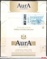 Tobacco Cigarettes Cardboard Box Bosnia Sarajevo Aura Lights - Boites à Tabac Vides