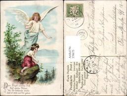 370675,Präge Künstler Litho Kind M. Blumenkranz Schutzengel Engel Spruch - Engel