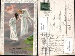 370668,Künstler Litho Am Elterngrab Frau Engel Spruch Präge Passepartout - Engel