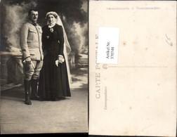 370748,Foto AK Hochzeit Hochzeitsfoto Soldat Uniform Schleier - Hochzeiten