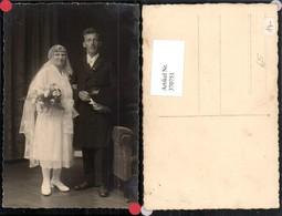 370751,Foto AK Hochzeit Hochzeitsfoto Braut Brautkleid Schleier Brautstrauß Bräutigam - Hochzeiten