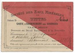 RARE ! Vittel (88), Sté Des Eaux Minérales, Carte D´abonnement 1914 & Bon Prime 1916 - France