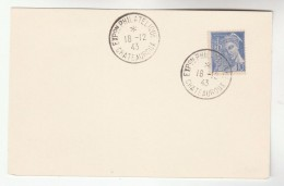 1943 FRANCE Stamps COVER (card) EXPO PHILATEILIQUE CHATEAUROUX  Philatelic Exhibition - France