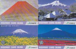 LOT De 4 Cartes Prépayées Japon - Volcan MONT FUJI - Mountain Vulcan Japan Prepaid Cards - Berg Karten - 269 - Volcanos