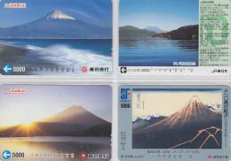 LOT De 4 Cartes Prépayées Japon - Volcan MONT FUJI - Mountain Vulcan Japan Prepaid Cards - Berg Karten - 270 - Volcans