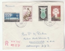 1961 REGISTERED FRANCE COVER Stamps AIRPORT MADAME STAEL LIBERATION MEDAL WWII To Auerswaldeibz GERMANY Music - Covers & Documents