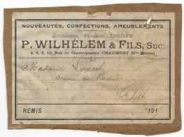 Chaumont (51), 1910 - Etiquette, Magasin De Nouveautés Sté P. WILHELEM & Fils - France