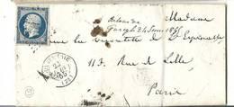 Seine Et Marne - Gurcy Pour Le Vicomte De L´espinasse à Paris. PC De Donnemarie+ CàD Type 15. Indice Pothion 9 - 1849-1876: Période Classique