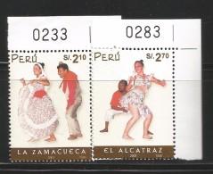 B)2001 PERU, DANCE, CULTURE,  PEOPLE,  FOLK DANCES,  ZAMACUECA, ALCATRAZ, SET OF 2,  SC 1331-1332 A626, SOUVENIR SHEETS, - Peru
