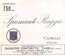"""05927 """"CANELLI (AT) - SPUMANTE RAGGIO (PER ESPORTAZIONE IN ARGENTINA) - GIUSEPPE CONTRATTO"""". ETICHETTA ORIGINALE - Etichette"""