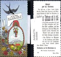 364888,Andachtsbild Heiligenbildchen St Corona Schwalbe Blumen - Images Religieuses