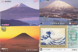 LOT De 4 Cartes Prépayées Japon - Volcan MONT FUJI - Mountain Vulcan Japan Prepaid Cards - Berg Karten - 273 - Gebirgslandschaften