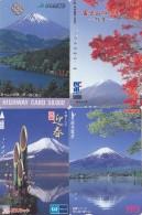 LOT De 4 Cartes Prépayées Japon - Volcan MONT FUJI - Mountain Vulcan Japan Prepaid Cards - Berg Karten - 277 - Volcanos