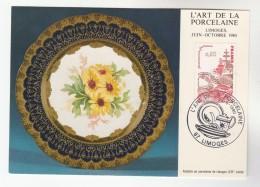 1980 Limoges FRANCE French PORCELEINE EVENT COVER (card)  GASTRONOMIE LOBSTER FISH Stamps - France