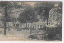 """65 - TARBES - La Fontaine """"L'Inondation"""" Sur La Place Verdun, Hotel Moderne Et Calèches  /  2076 - Tarbes"""