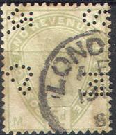 GREAT BRITAIN   104,   Used,   Perfin, S.G.  193,  Green/dull Green. Sound, SCV$ 210.....   (gb104-17.....[16-bam - 1840-1901 (Victoria)