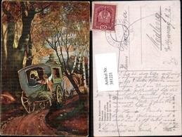 381221,Künstler Ak S. Pohl Die Hochzeitsreise Kutsche Amor Liebe - Taxi & Carrozzelle