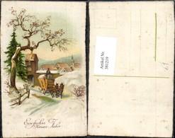 381219,Künstler Ak Kutsche Postkutsche Winterlandschaft Neujahr - Taxi & Carrozzelle