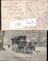 381214,Künstler Ak Kutsche Verkehr Postkutsche Neujahr Winteransicht Hund - Taxi & Carrozzelle