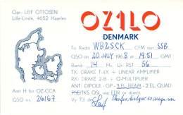 Amateur Radio QSL Card - OZ1LO - Denmark - July 1968 On 14MHz SSB - Radio Amateur