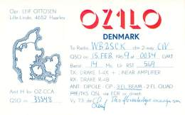 Amateur Radio QSL Card - OZ1LO - Denmark - Feb 1969 On 14MHz CW - Radio Amateur