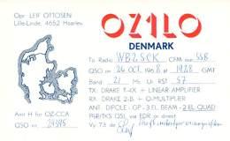 Amateur Radio QSL Card - OZ1LO - Denmark - Oct 1968 On 21MHz SSB - Radio Amateur