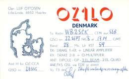 Amateur Radio QSL Card - OZ1LO - Denmark - Septt 1968 On 28MHz SSB - Radio Amateur