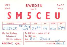 Amateur Radio QSL Card - SM5CEU - Sweden - 1969 - 2 Scans - Radio Amateur