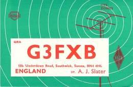 Amateur Radio QSL Card - G3FXB - England - 1969 - 2 Scans - Radio Amateur