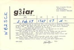 Amateur Radio QSL Card - G3IAR - England - 1969 On 21Mhz - Radio Amateur