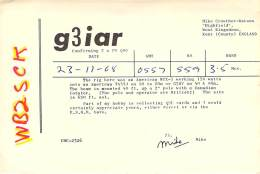 Amateur Radio QSL Card - G3IAR - England - 1969 On 3.5Mhz - NJ To England!!! - Radio Amateur