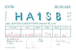 Amateur Radio QSL Card - HA1SB - Hungary - 1968 On 21MHz - Radio Amateur