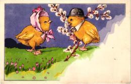 COUPLE DE POUSSINS HABILLES   REF 47252 - Animali Abbigliati