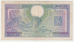 Belgium 500 Francs 100 Belgas 1943 (1944) VF Pick 124 - [ 2] 1831-... : Royaume De Belgique
