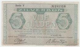 Netherlands 5 Gulden 1944 VF Pick 63 - [2] 1815-… : Kingdom Of The Netherlands