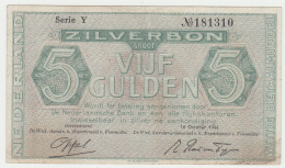 Netherlands 5 Gulden 1944 VF Pick 63 - [2] 1815-… : Reino De Países Bajos