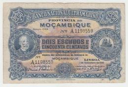 MOZAMBIQUE 2 1/2 Escudos 1941 VG+ RARE Banknote Pick 82 - Mozambique