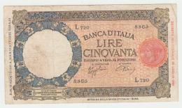 Italy 50 Lire 1940 VF RARE Banknote Pick 54b  54 B - 50 Lire