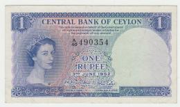 CEYLON SRI LANKA 1 RUPEE 1952 VF++ Pick 49 - Sri Lanka