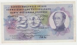 Switzerland 20 Franken 1967 VF+ Banknote Pick 46o  46 O - Switzerland
