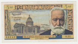 France 5 Noveaux Francs 1960 VF++ CRISP Banknote Pick 141 - 5 NF 1959-1965 ''Victor Hugo''