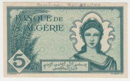 Algeria 5 Francs 16-11- 1942 VF++ CRISP Banknote Pick 91 (short Snorter) - Algeria