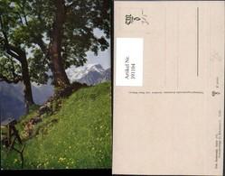 391104,Künstler AK Sommertage Im Braunwald Bäume Bergkulisse Kt Glarus - GL Glarus