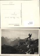 391102,Auf Braunwaldalp Mit Tödi B. Braunwald Bergkulisse Wanderer Kt Glarus - GL Glarus