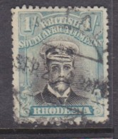 Rhodesia / B.S.A.Co. Admiral, 1913, 1/= Black & Pale Blue Die III,  Perf 14, Used, - Southern Rhodesia (...-1964)