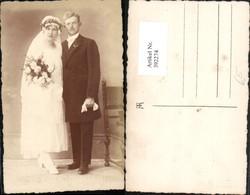 392274,Foto AK Hochzeit Hochzeitsfoto Braut M. Bräutigam Blumenstrauß - Hochzeiten